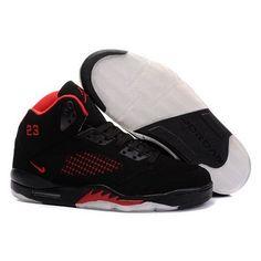 Air Jordan Retro 5 High Tops - Black / Red Men Sneakers 1017 - $55.60 From