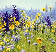 Gorgeous wild flower filled meadow painting by Shirley Novak