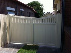 Close boarded driveway gates with spindles in the top Side Gates, Front Gates, Entrance Gates, House Entrance, Front Fence, Timber Gates, Wooden Gates, Driveway Gate, Fence Gate