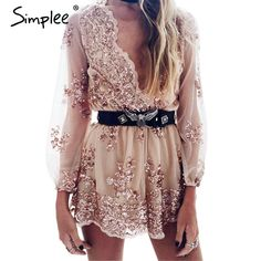 Find More Rompers Information about Simplee 2016 Autumn Gold sequin embroidery elegant jumpsuit romper Transparent mesh sleeve playsuit women Deep v neck overalls,High Quality jumpsuits rompers women,China romper jumpsuit Suppliers, Cheap romper pants from Simplee Apparel on Aliexpress.com