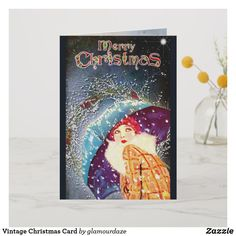 Shop Vintage Christmas Card created by glamourdaze. Vintage Christmas Cards, Retro Christmas, Christmas Shopping, Holiday Cards, Vintage Shops, Retro Vintage, Paper Texture, Merry, Prints
