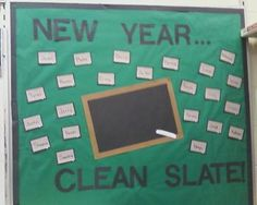 New Year, Clean Slate! | New Years Bulletin Board Idea