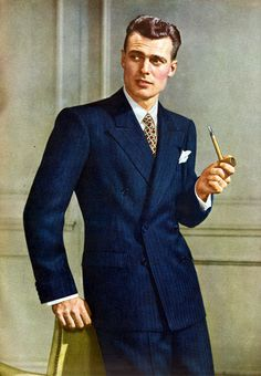 Men The Fashion History Movies Music navy double breasted suit pipe smoking vintage man 1940s Mens Suits, 1940s Mens Fashion, 1940s Suit, Vintage Fashion, 1930s, Dapper Gentleman, Gentleman Style, Moda Retro, Look Street Style