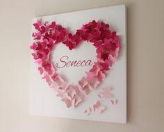 Personalized Pink Ombre Butterfly Wall Art Nursery Art