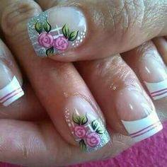 25 Flower Nail Designs, Flower Nail Art, Nail Art Designs, Glitter French Manicure, Glitter Nail Art, Great Nails, Cute Nails, Nagel Gel, Finger