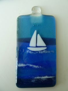 FUSED GLASS SUNCATCHER yacht at sea by fusedglasscouk on Etsy