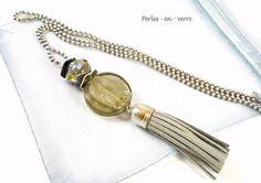 DIY! 1  kit sautoir pompon, perles verre, gris métal argenté,(kit1)