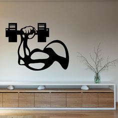 Wall Decals Sport People Bodybuilder Man's Hand with Dumbbell Gym Interior…