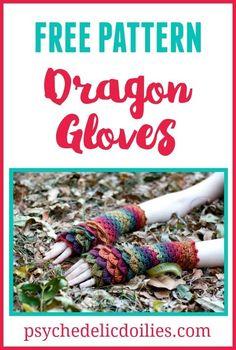 Crochet Dragon Gloves Free Pattern.