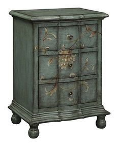 Loving this Slate Floral Three-Drawer Chest on #zulily! #zulilyfinds