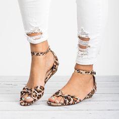 Knotted Peep Toe Wedge Sandals - Leopard #sandalsheelswedge