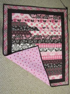 Strip Baby Quilt - cute pink and brown