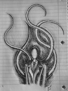 i will say slenderman looks easy to draw Scary Drawings, Dark Art Drawings, Art Drawings Sketches, Pencil Drawings, Arte Horror, Horror Art, Eyeless Jack, Slender Man, Horror Drawing