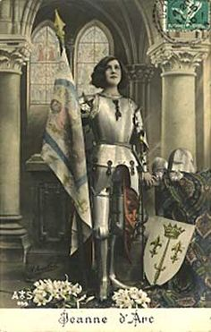 Joan of Arc - You have heard Her Name, Do you really know Her Story? Saint Joan of Arc Postcard with Banner & Shield Joan D Arc, Saint Joan Of Arc, St Joan, Vampire Rave, Sword Poses, Jeanne D'arc, French History, Historical Art, Catholic Saints