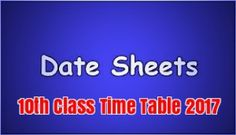 10th Class Time Table 2017