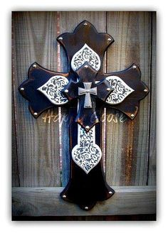 Medium Wall CROSS - Antiqued Black, with Black Damask Print. Topped with an iron cross. Gorgeous!!      * measures 23.5 x 16  * protective clear coat