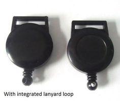 Circular Plastic Ski-Pass Holder with Integral Lanyard Loop