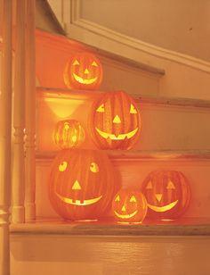 Paper mache pumpkins. Super cute.