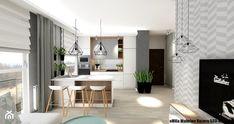 Mieszkanie Kielce III - Średnia otwarta kuchnia jednorzędowa w aneksie z wyspą z oknem, styl skandynawski - zdjęcie od eMKu Sp. z o.o.