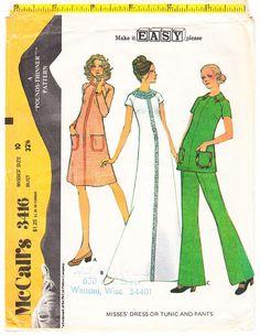 3cf6dd016ec524 Vintage 1972 McCalls 3416 Jurk of tuniek heeft raglan mouwen met schouder  darts