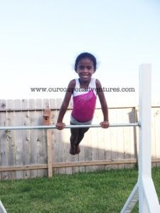 DIY Gymnastics Bar & Balance Beam for our lil tumblers? Diy Gymnastics Bar, Gymnastics Equipment, Olympic Gymnastics, Gymnastics Stuff, Kids Outdoor Playground, Playground Ideas, Diy Balance Beam, Laura Lee, Outdoor Fun