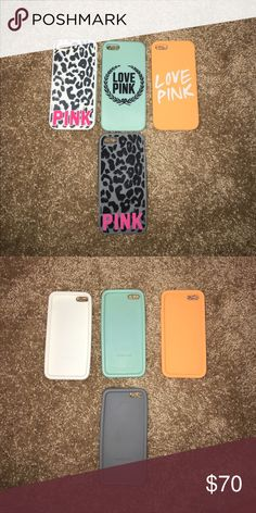 PINK iPhone 5 phone cases Victoria secret PINK iPhone 5 phone cases. Soft material and flexible. Loved these cases. Will sell together or separately. Each 20$. Make me an offer PINK Victoria's Secret Accessories Phone Cases