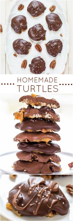 Homemade Turtles - Fast, easy, no-bake and just 4 ingredients! Chewy, gooey, salty-and-sweet! Homemade always tastes better! Yum!! Your dad will love these for #FathersDay !