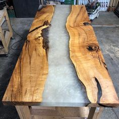 We just got this thick maple river table oiled up! Swipe to see some close up shots! - We used Liquid Plastic with Ecopoxy Pearl Metallic Pigment. Then, we finished the piece with Pure Oil. Welding Flux, Rubio Monocoat, Wood River, Maple Burl, Walnut Table, Resin Table, Butcher Block Cutting Board, Woodworking Projects, Things To Come