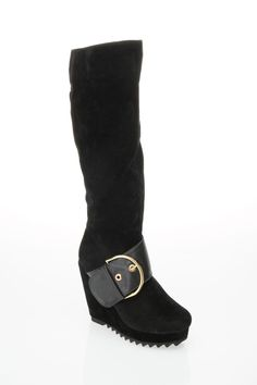 Buckle Wedge Boots In Black Suede  ((IM THINKIN PIRATE/WITCH BOOTS/SANTA))