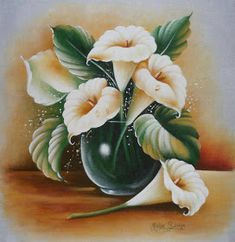 3 Canvas Paintings, Indian Art Paintings, Arte Floral, Flower Canvas, Flower Art, Painting Patterns, Fabric Painting, Metal Roses, Fabric Paint Designs
