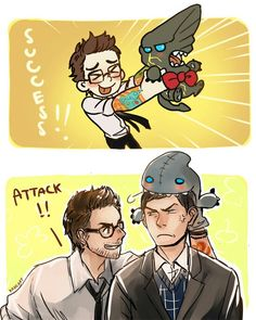Oh my word the little toy kaiju is so cute, just, 'nyarm nyarm nyarm' and Newt is 'haha, fear the plushie adorableness,' haha while poor Herman thinks 'how are we even friends, I am going to stab you with my cane.'