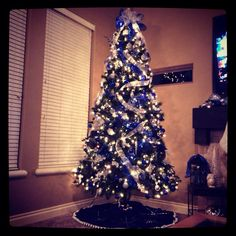 Blue and silver Christmas tree theme!!