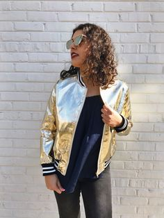 bomber jackets, gold bomber jackets, trendy bomber jackets, fashionable jackets, how to style your bomber jacket, what to wear with your bomber jacket, outfit inspiration, fashion inspiration, how to style your high waist jeans, date night, girls night,