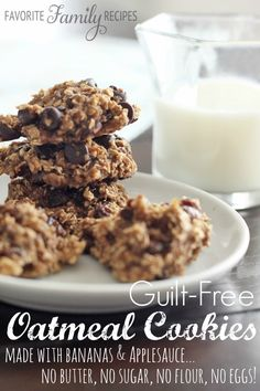 No sugar, no flour, no eggs, and no butter... A great way to satisfy your sweet tooth without the guilt!   Find all our yummy pins at https://www.pinterest.com/favfamilyrecipz/ Sugar Free Oatmeal, Oatmeal Cookies With Applesauce, Oatmeal Cookies No Eggs, No Flour Cookies, Chip Cookies, Gluten Free Oatmeal, Guilt Free Desserts, Cookie Desserts, Healthy Dessert Recipes