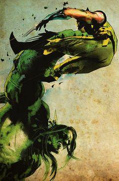 The Hulk vs Wolverine by Jock