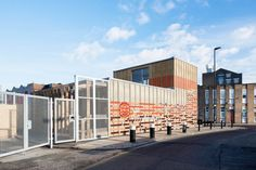 LYN Atelier built a temporary community center in Hackney Wick using recycled materials from the London 2012 Olympic Games. Community Space, Olympic Games, Recycled Materials, The Locals, Interior Architecture, Facade, Melbourne, Recycling, London