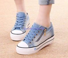 87fc39b4b2a Details about New Womens Round Toe Lace Up Sneakers Platform Wedge Heels  Denim Canvas Shoes Sz