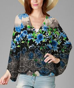 Another great find on #zulily! Blue & Green Floral Lace-Print V-Neck Tunic - Plus #zulilyfinds