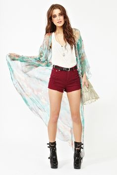 the dress, parted, makes for a romantic light, light spring cardigan! i mostly like the burgundy/maroon shorts