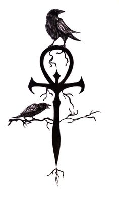 Crow On Ankh Tattoo Design Ankh Tattoo, Yakuza Tattoo, Tattoo Drawings, Body Art Tattoos, Sleeve Tattoos, Ear Tattoos, Wicked Tattoos, Tatoos, Crow Tattoo Design