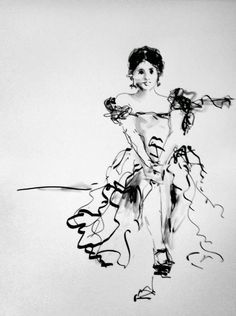 Seated Dancer - original ink figurative drawing
