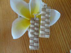 Handwoven Hawaiian Lauhala Earrings \ Keepsake \ Down to Earth \ Natural by NaMeaONaLima on Etsy