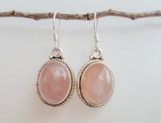 Very pretty natural rose pink quartz and sterling silver dangle earrings.