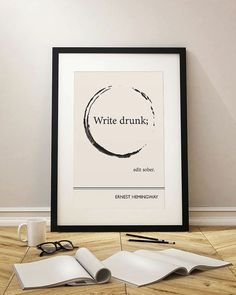 Large Framed Art Print, Framed Quote Print, Wall Quotes, Ernest Hemingway Literary Print, Oversized Wall Art, on Etsy, $115.00