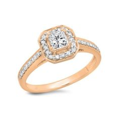 0.80 Carat (ctw) 10K Rose Gold Princess & Round Cut Diamond Ladies... ($869) ❤ liked on Polyvore featuring jewelry, rings, rose, rose gold diamond ring, diamond bridal rings, engagement rings, diamond rings and round diamond ring