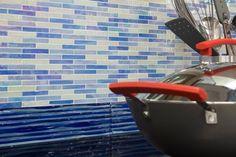 Blue Glass tiles - Elida Ocean Brick Murano Backsplash