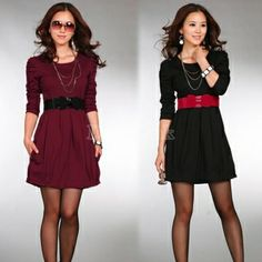 Women's Slim Office Stylish Long Sleeve Dress With Belt Cheap Clothes Online, Dress Link, Stylish Dresses, One Piece Swimsuit, Must Haves, Skater Skirt, Backless, Mini Skirts, Swimsuits
