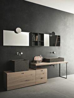 armoire-de-toilette-ikea-en-bois-salle-de-bain-murs-noirs-salle-de-bain-moderne