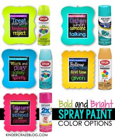 LOVE these spray paint colors for classroom accessories