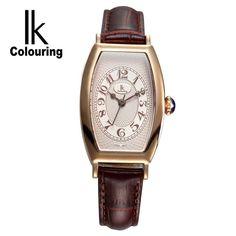 IK Luxury Women's Girl Sapphire Tonneau Quartz Watches Day Genuine Leather Wristwatch  women's quartz diamond lady watch